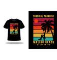 t-shirt tropical paradise malibu beach california vector image vector image