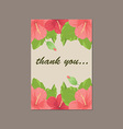 Thank you cartoon card made of floral background i vector image