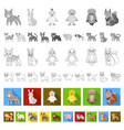 toy animals flat icons in set collection for vector image