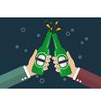 two businessmen toasting bottle beer vector image
