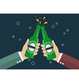 Two businessmen toasting bottle of beer vector image vector image
