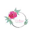 vintage round frame with pink rose vector image