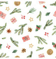 watercolor christmas seamless pattern with vector image vector image