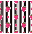 Seamless strawberry patter on striped background vector image