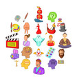 actors icons set cartoon style vector image vector image