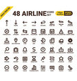Airline web universal pixel perfect line icons vector image