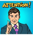 Attention businessman pointing finger vector image vector image