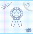 award medal with star and ribbon line sketch icon vector image vector image