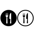 black restaurant sign with fork and knife vector image vector image