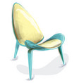 blue retro chair watercolor design decor vector image vector image
