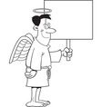 Cartoon male angel holding a sign vector image vector image