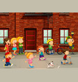 children playing on the road vector image vector image