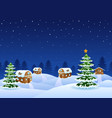 christmas night scene with a snowy wooden house an vector image