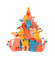 christmas tree made many funny cats new year vector image