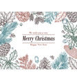christmas vintage invitation winter fir pine vector image