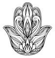 contour hamsa with boho pattern hand of buddha ve vector image vector image
