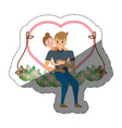 couple love embracing swing shadow vector image vector image