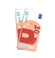 couple of simple ten euro banknotes on white vector image vector image