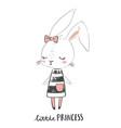 cute girl rabbit character little princess hand vector image vector image