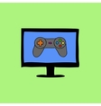 Doodle style computer with gamepad vector image