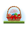 easter eggs in wooden basket and red bow vector image