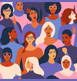 female diverse faces of different ethnicity vector image vector image