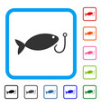 fish hook framed icon vector image vector image