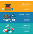 flat design concept for education online library vector image vector image
