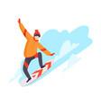 flat snowboarding man vector image