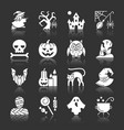 halloween white silhouette with reflection icons vector image vector image