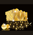 happy new 2021 year 3d golden card with xmas ball vector image vector image