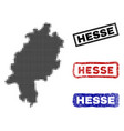 hesse state map in halftone dot style with grunge vector image vector image