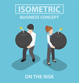 Isometric business people holding heavy bomb vector image vector image