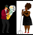 jazz musician and afroamerican singer vector image vector image