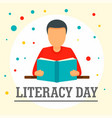 man with book literacy day background flat style vector image