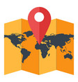 paper world map with geotag red location pointer vector image vector image