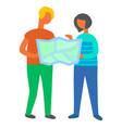 people finding their way couple using map info vector image vector image
