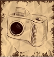 Photo camera isolated on vintage background vector image