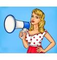 Pop art girl with megaphone vector image