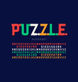 puzzle font colorful jigsaw puzzle alphabet vector image vector image