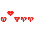 red hearts set happy air fly from group on white vector image vector image