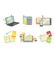 school supplies set laptop computer copybook vector image vector image