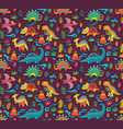 seamless pattern with cute little cartoon vector image vector image