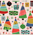 seamless pattern with decorative tree and gifts vector image vector image