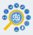 seo icon set for infographic vector image