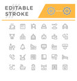 set editable stroke line icons hotel vector image vector image