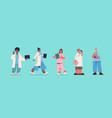 set male female doctors in uniform mix race vector image vector image