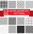 Set of 12 retro geometric patterns vector image
