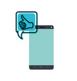 smartphone with speech bubble isolated icon vector image