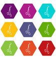 towel forceps icons set 9 vector image